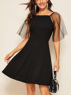 60s Black Mesh Sleeve A Line Dress