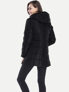 Solid Hooded Puffer Coat Jacket
