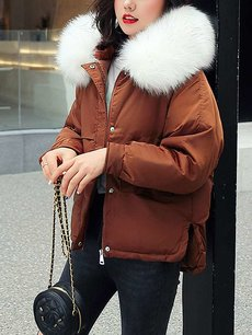 Solid Faux Fur Hooded Down Coat