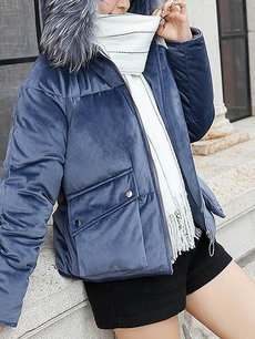 Solid Faux Fur Hooded Puffer Coat