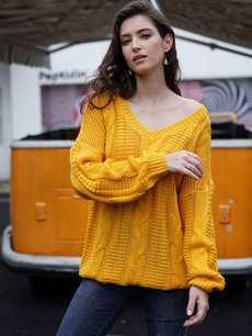 Solid V Neck Knit Sweater