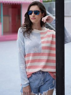 Striped Star Knit Sweater