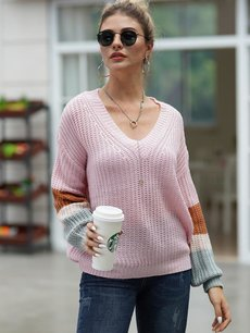 V Neck Color Block Knitted Jumper