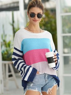 Color Block Striped Jumper Sweater