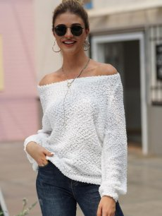 Solid Boat Neck Knit Sweater