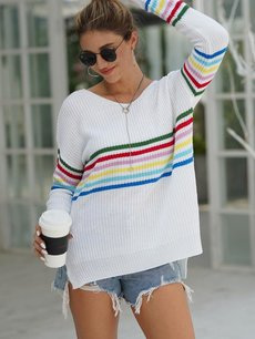 Striped V Neck Rainbow Sweater