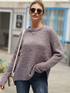 Solid Knitted Jumper Sweater
