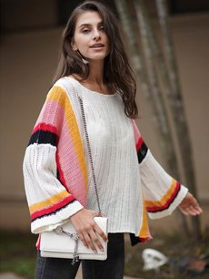 Loose Striped Rainbow Knit Sweater