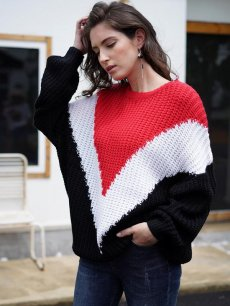 Color Block Striped Knit Sweater