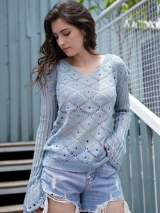 Blue V Neck Knit Sweater