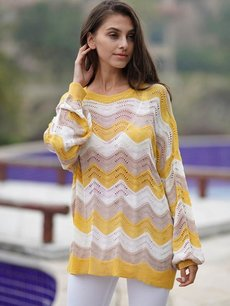 Yellow Striped Rainbow Knit Sweater