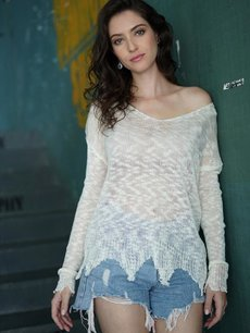 White V Neck See Through Sweater
