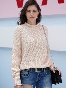 Solid High Neck Knit Jumper