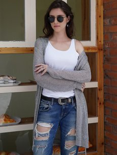 Grey Long Cardigan Sweater