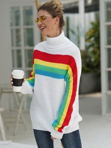 White High Neck Striped Rainbow Sweater