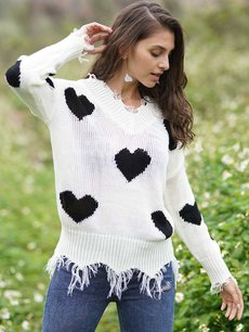 V Neck Heart Knit Sweater