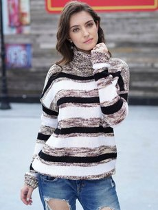 High Neck Striped Jumper Sweater