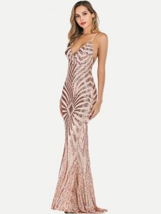 Sexy Backless Sequin Cocktail Dress