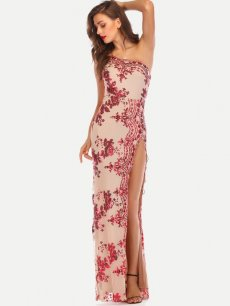 Embroidered Sequin Maxi Evening Dress
