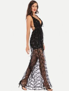 Sexy Sequin Backless Long Evening Dress