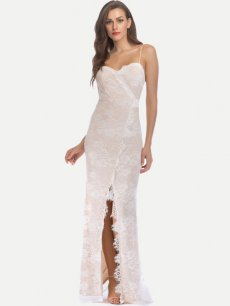 White Lace Formal Evening Dress