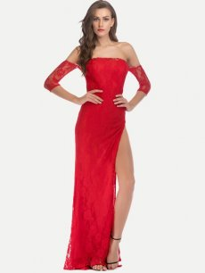 Sexy Slit Bandeau Lace Evening Gown