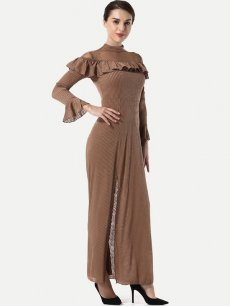 Brown Ruffle Slit Maxi Dress