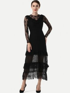 Black Lace Evening Maxi Dress