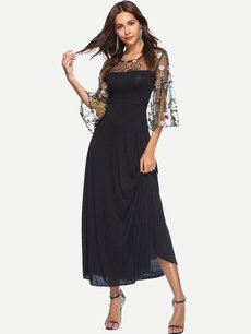 Solid Lace Embroidered Maxi Dress