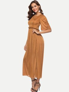 Solid Ruffle A Line Maxi Dress