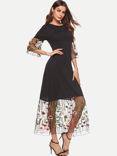 Black Embroidered Lace Maxi Dress