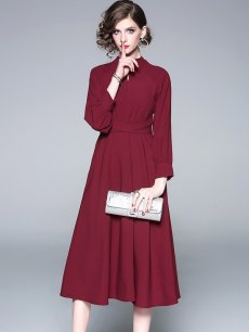Red Long Sleeve Party Dress