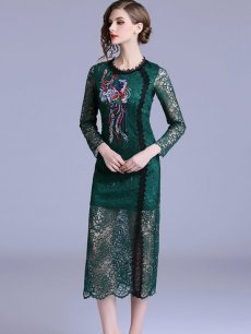 Green Embroidered Lace Party Dress