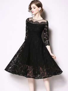 Black Lace Party Skater Dress
