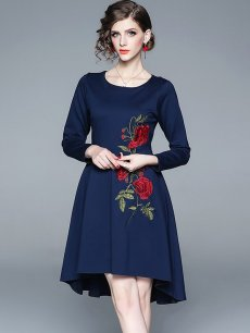 Navy Embroidered Midi Prom Dress