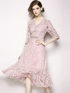 Sexy Pink V Neck Lace Party Dress