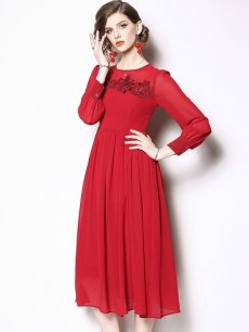 Red Embroidered Chiffon Prom Dress