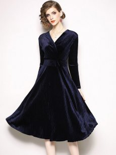 Solid Velvet Party Dress
