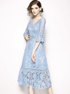 Light Blue Lace Midi Party Dress