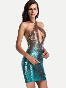Sexy Halter Sequin Bodycon Party Dress
