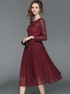 Solid Long Sleeve Lace Formal Dress