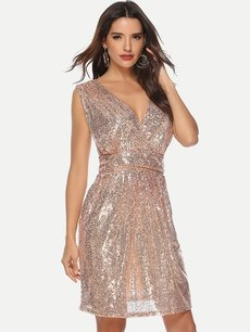 Sleeveless Midi Sequin Party Dress