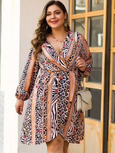 Plus Size Leopard Print Slit Dress