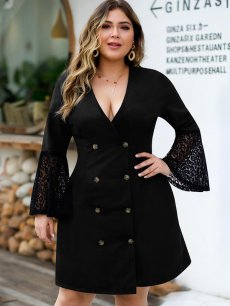 Plus Size Black Flare Long Sleeve Lace Dress