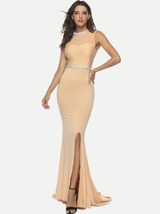 Sexy Slit Backless Formal Evening Dress