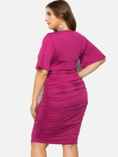 Plus Size Solid Midi Bodycon Dress