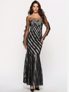 Black Lace Embroidered Mermaid Evening Dress
