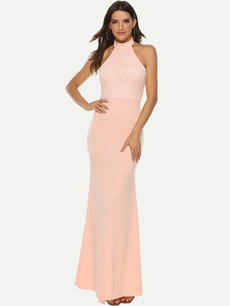 Sexy Halter Backless Lace Bodycon Evening Dress