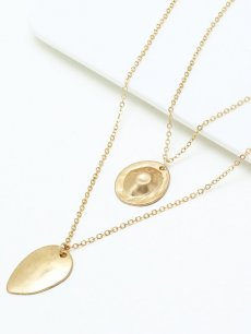 Leaf Gold Layered Pendant Necklace