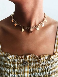 Star Gold Chain Choker Necklace